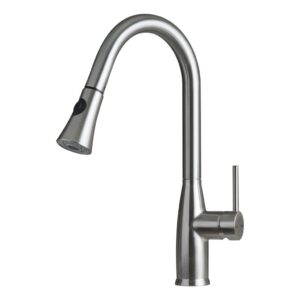 DAX SINGLE HANDLE PULL DOWN KITCHEN FAUCET WITH DUAL SPRAYER, BRASS BODY, BRUSHED NICKEL FINISH, SIZE 11-7/16 X 17-1/2 INCHES