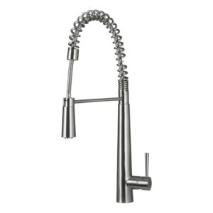 DAX SINGLE HANDLE PULL DOWN KITCHEN FAUCET, STAINLESS STEEL SHOWER HEAD AND BODY, BRUSHED FINISH, HEIGHT 9 X 24-13/16 INCHES