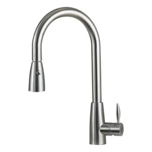 SINGLE HANDLE PULL DOWN KITCHEN FAUCET WITH DUAL SPRAYER, STAINLESS STEEL SHOWER HEAD, BRUSHED FINISH, SIZE 8-11/16 X 17-1/8 INCHES