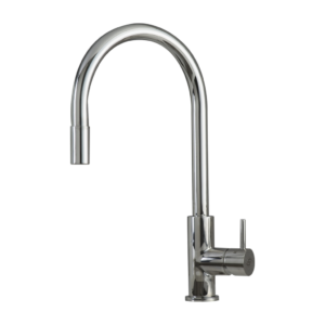 SINGLE HANDLE PULL DOWN KITCHEN FAUCET, STAINLESS STEEL SHOWER HEAD AND BODY, CHROME FINISH, SIZE 8-11/16 X 16-9/16 INCHES
