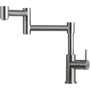 MODERN SINK KITCHEN FAUCET, SINGLE LEVER, STAINLESS STEEL BODY, BRUSHED STAINLESS STEEL FINISH, SIZE 7-1/2 X 12-3/4 INCHES